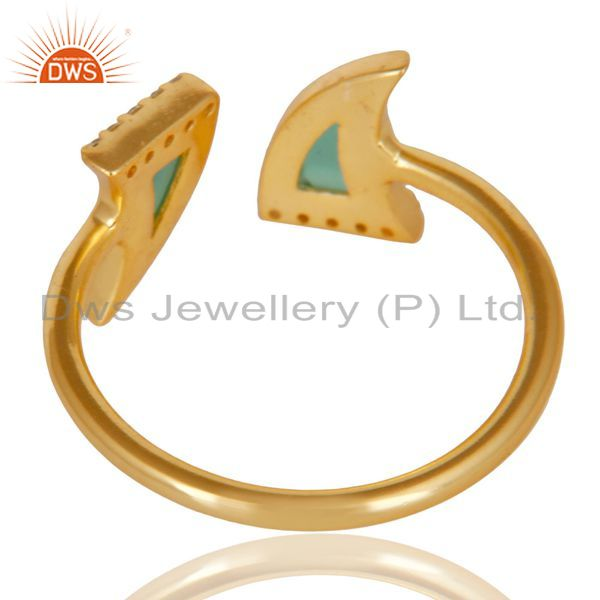 Suppliers Green Onyx Two Horn Cz Studded Adjustable 14K Gold Plated 92.5 Silver Ring