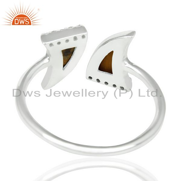 Suppliers Tigereye Two Horn Cz Studded Adjustable Openable 92.5 Sterling Silver Ring
