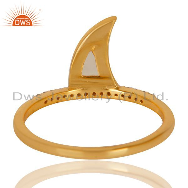 Suppliers Aqua Chalcedony Horn Cz Studded Adjustable 14K Gold Plated 92.5 Silver Ring