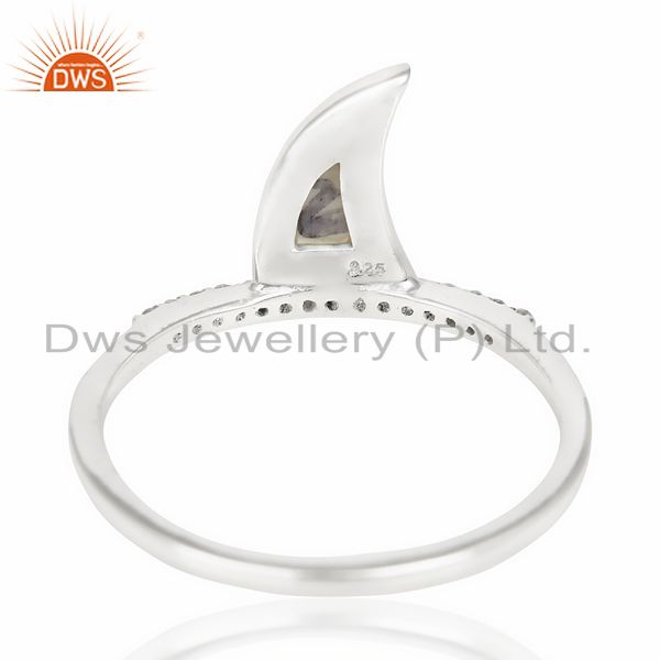 Suppliers Howlite Horn Cz Studded Adjustable 92.5 Sterling Silver Ring
