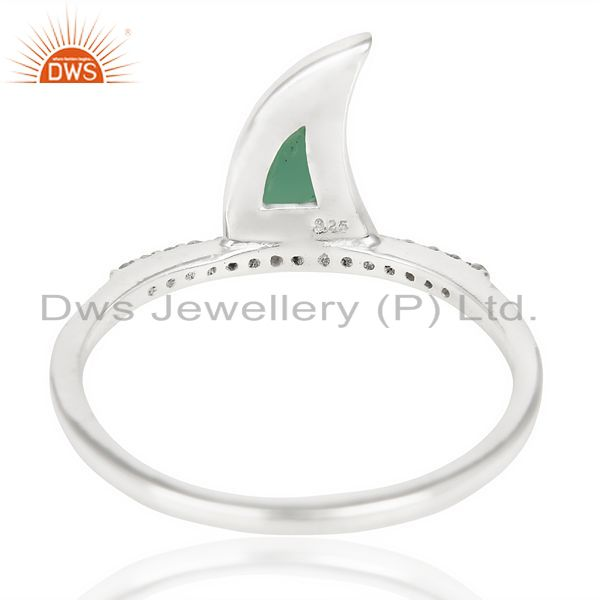 Suppliers Green Onyx Horn Cz Studded Adjustable 92.5 Sterling Silver Ring