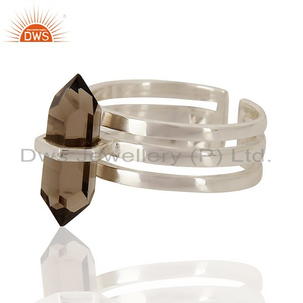 Top Quality Smoky Wide Horn Adjustable Openable 92.5 Sterling Silver Ring