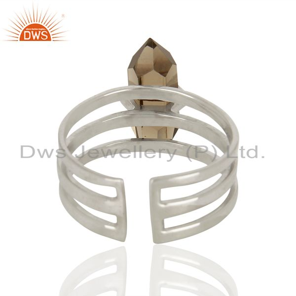 Suppliers Smoky Wide Horn Adjustable Openable 92.5 Sterling Silver Ring Gemstone Jewellery