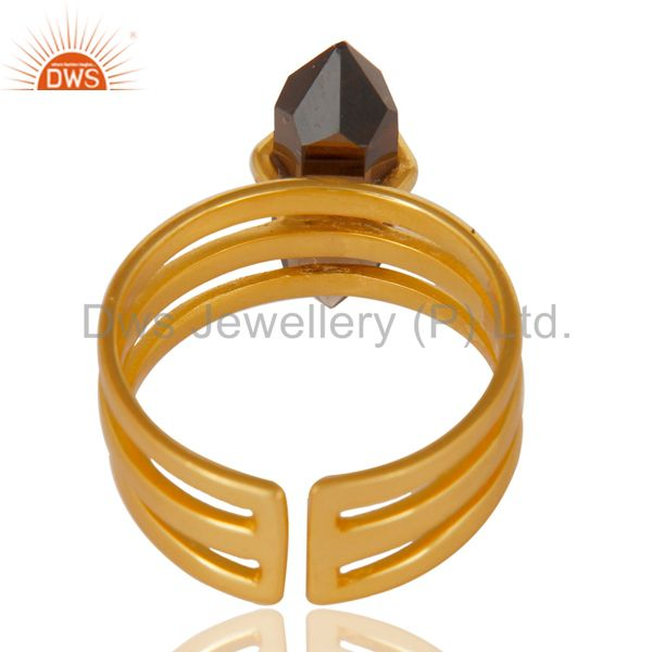 Suppliers Smoky Topaz  Wide Horn Adjustable 14K Gold Plated Sterling Silver Ring