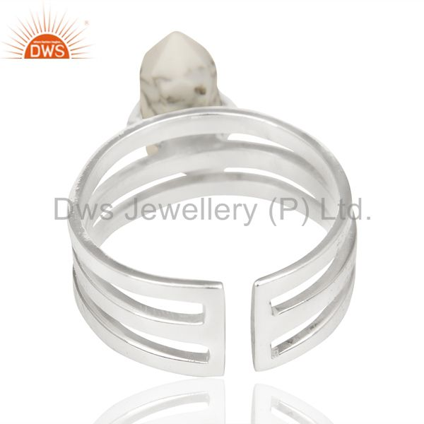 Suppliers Howlite Wide Horn Adjustable Openable 92.5 Sterling Silver Ring