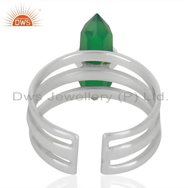 Suppliers Green Onyx Wide Horn Adjustable Openable 92.5 Sterling Silver Ring
