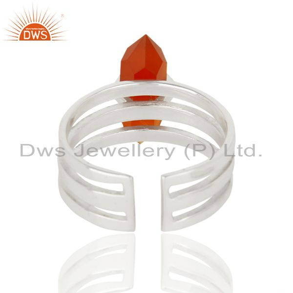 Suppliers Red Onyx Wide Horn Adjustable Openable 92.5 Sterling Silver Ring