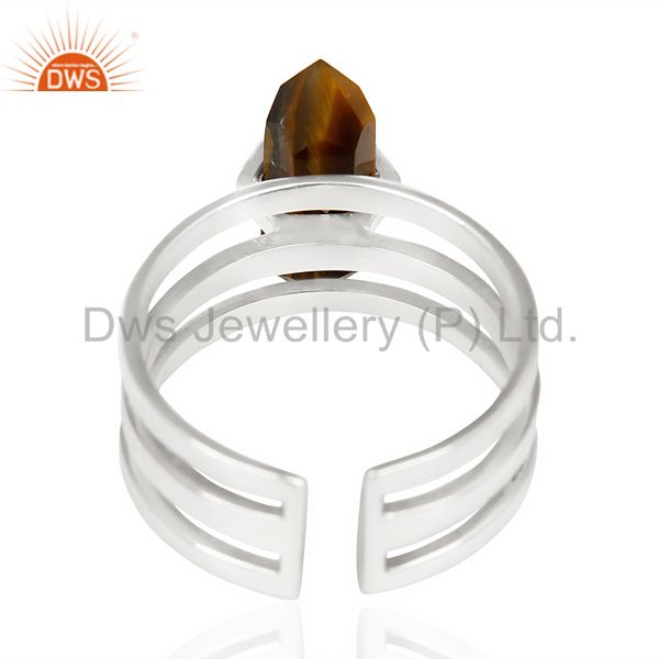 Suppliers Tigereye Wide Horn Adjustable Openable 92.5 Sterling Silver Ring