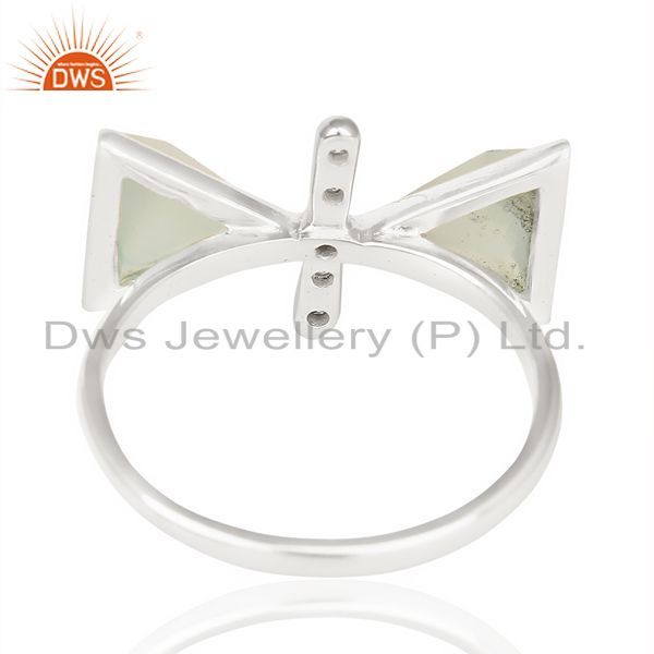 Suppliers Aqua Chalcedony Triangle Cut Pyramid Cz Studded  Solid 92.5 Sterling Silver Ring
