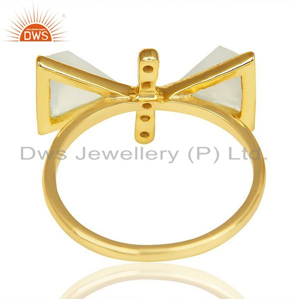Suppliers Aqua Chalcedony Triangle Cut Pyramid Cz Studded 14 K Gold Plated  Silver Ring