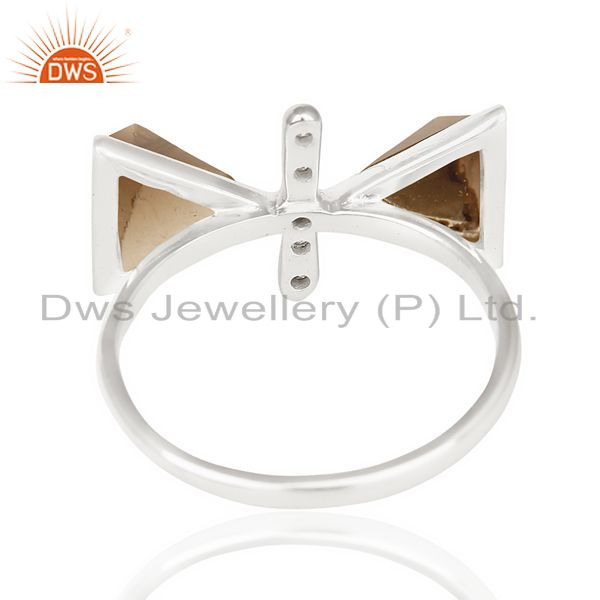 Suppliers Smoky Topaz Triangle Cut Pyramid Cz Studded  Solid 92.5 Sterling Silver Ring