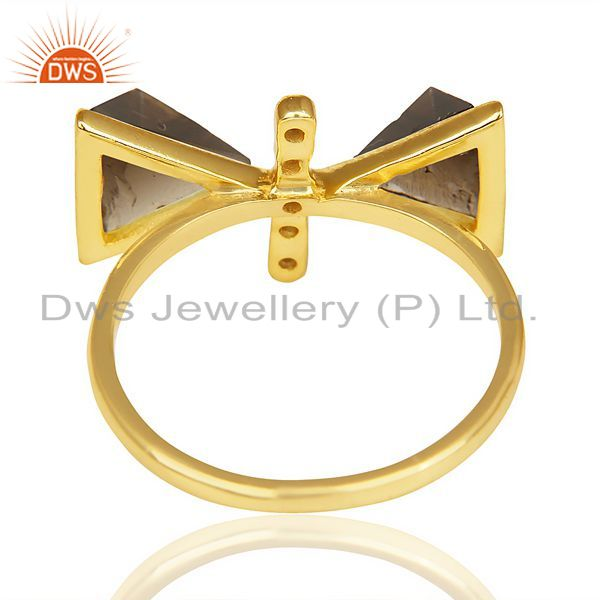 Suppliers Smoky Topaz Triangle Cut Pyramid Cz Studded 14 K Gold Plated  Silver Ring