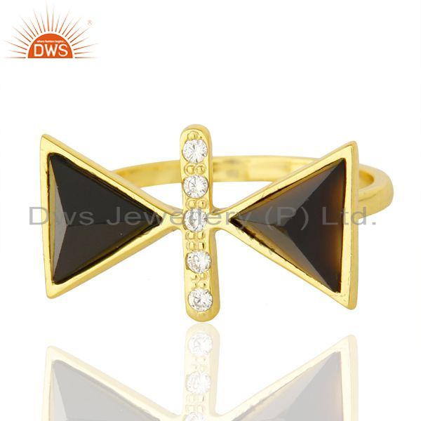 Best Quality Black Onyx Triangle Cut Pyramid Cz Studded 14 K Gold Plated Silver Ring