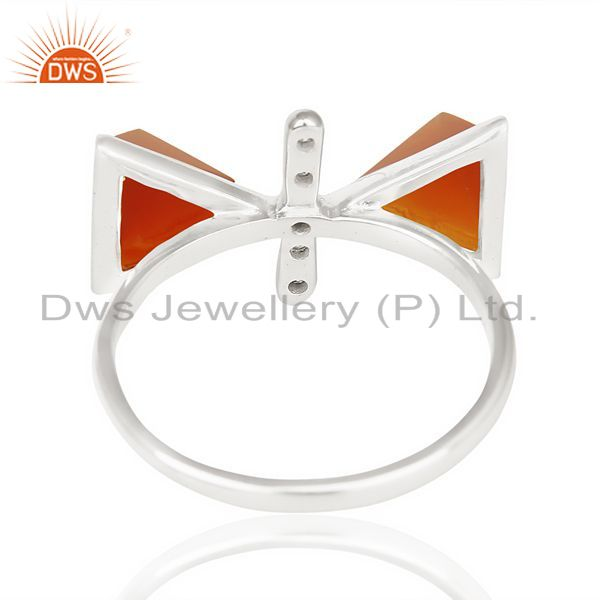 Suppliers Red Onyx Triangle Cut Pyramid Cz Studded  Solid 92.5 Sterling Silver Ring