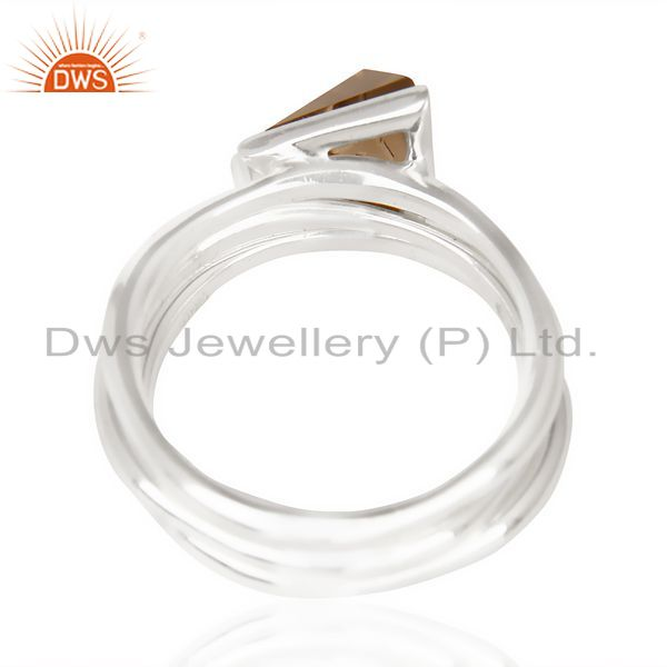 Suppliers Smoky Topaz Triangle Cut Gemstone Stacking Ring 92.5 Sterling Silver Ring