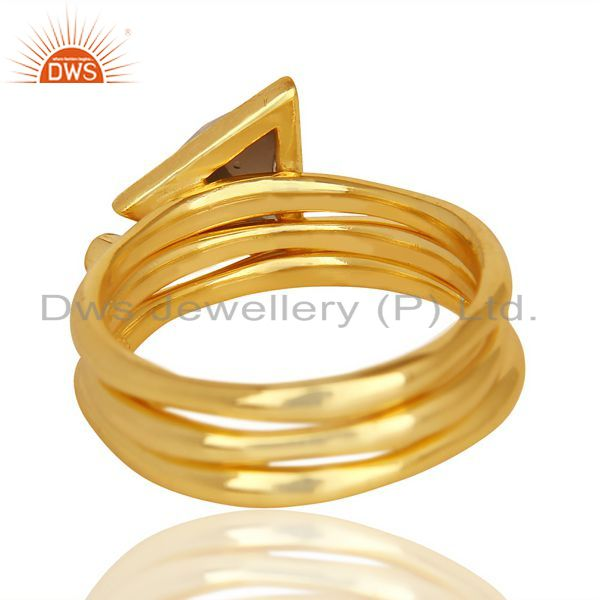 Suppliers Smoky Topaz Triangle Cut Gemstone Stacking 14K Gold Plated 92.5 Silver Ring