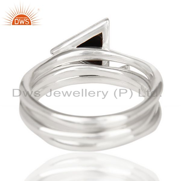 Suppliers Black Onyx Triangle Cut Gemstone Stacking Ring 92.5 Sterling Silver Ring