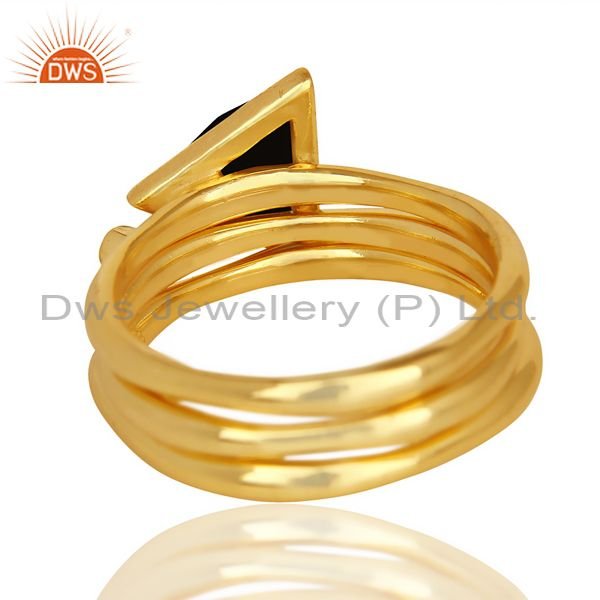 Suppliers Black Onyx Triangle Cut Gemstone Stacking 14K Gold Plated 92.5 Silver Ring