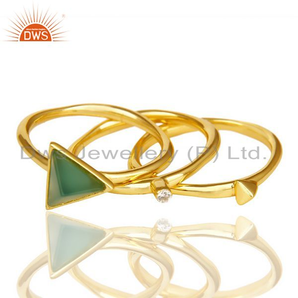 Suppliers Green Onyx Triangle Cut Gemstone Stacking 14K Gold Plated 92.5 Silver Ring