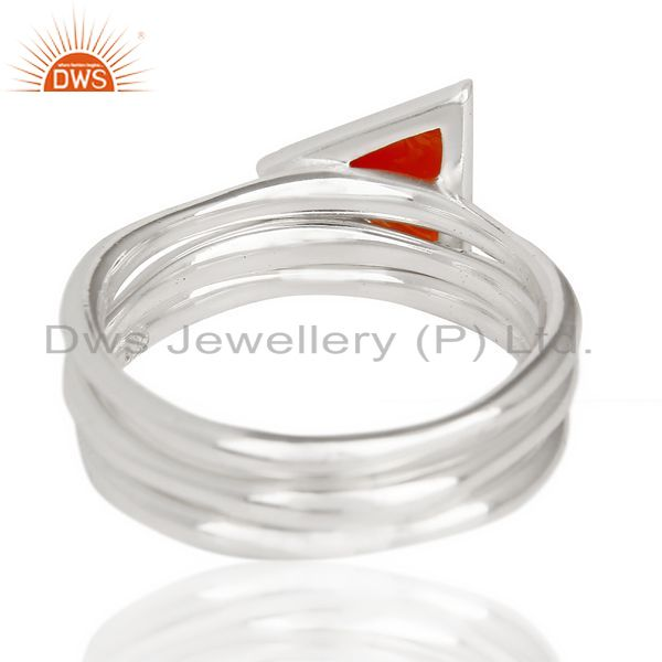 Suppliers Red Onyx Triangle Cut Gemstone Stacking Ring 92.5 Sterling Silver Ring