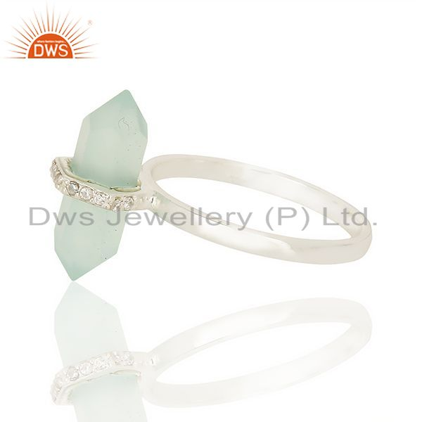 Top Selling Aqua Chalcedony Cz Studded Double Terminated Pencil 92.5 Sterling Silver Ring