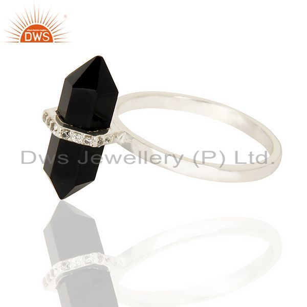 Best Quality Black Onyx Cz Studded Double Terminated Pencil 92.5 Sterling Silver Ring