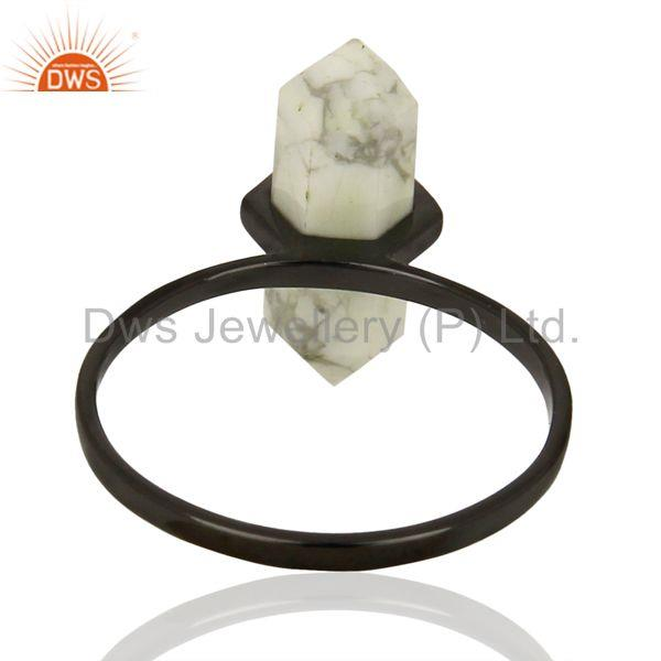 Suppliers Indian Black Rhodium Plated Silver Howlite Gemstone Ring Jewelry
