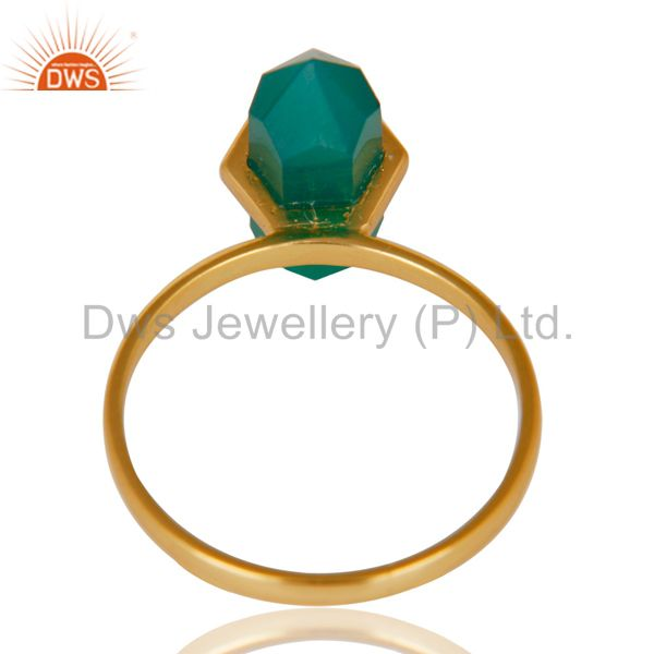 Suppliers Green Onyx Terminated Pencil Gold Plated 92.5Stelring Silver Wholesale Ring