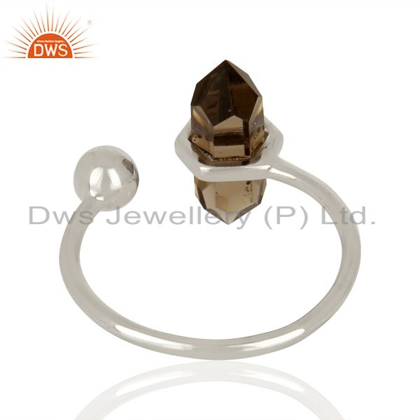 Suppliers Smoky Topaz Pencil Adjustable Openable Ball 92.5 Sterling Silver Rings