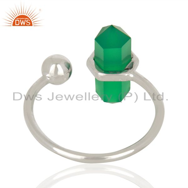 Suppliers Green Onyx Pencil Adjustable Openable Ball 92.5 Sterling Silver Ring Jewellery