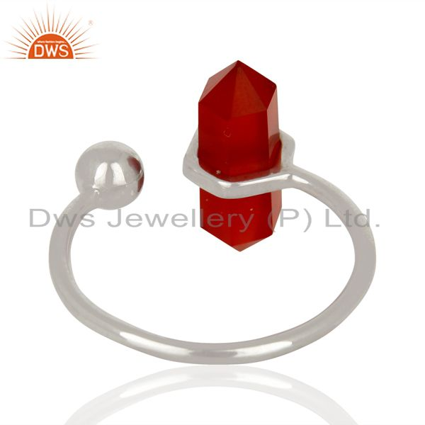 Suppliers Red Onyx Pencil Adjustable Openable Ball 92.5 Sterling Silver Ring Jewellery
