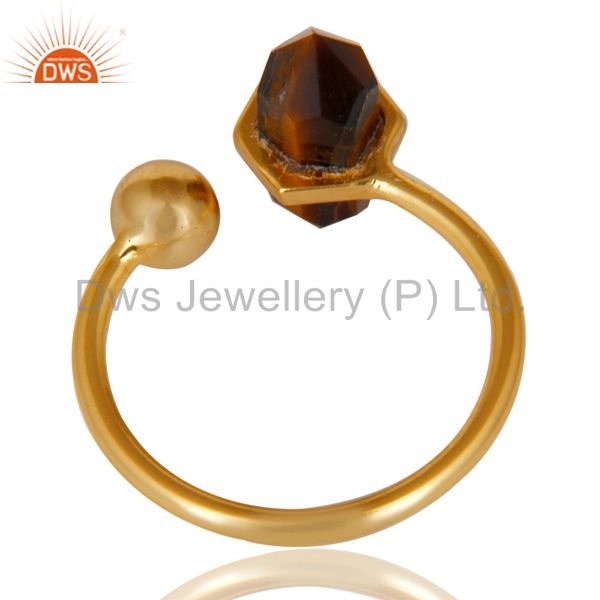 Suppliers Tigereye Pencil Adjustable Openable Ball 14K Gold Plated 92.5 Silver Ring