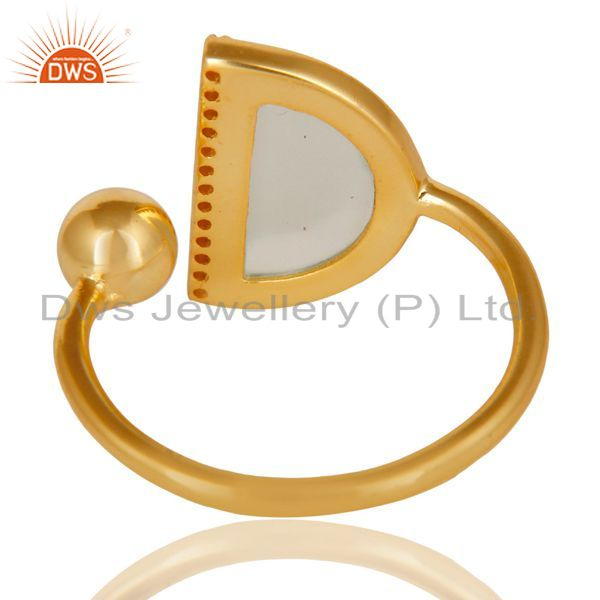Suppliers Aqua Chalcedony Half Moon Ring Cz Studded 14K Gold Plated Sterling Silver Ring