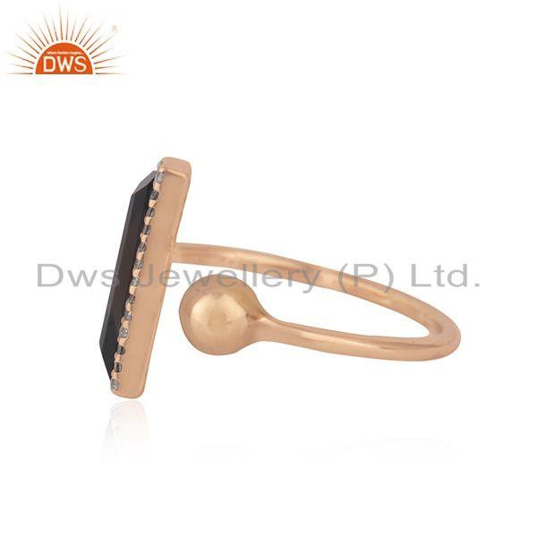 Suppliers CZ Smoky Quartz Gemstone Rose Gold Plated Silver Ring Jewelry