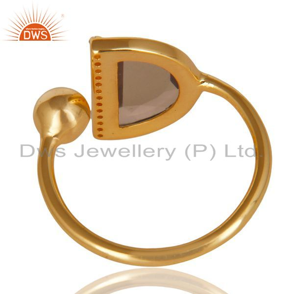 Suppliers Smoky Topaz Half Moon Ring Cz Studded 14K Gold Plated Sterling Silver Ring
