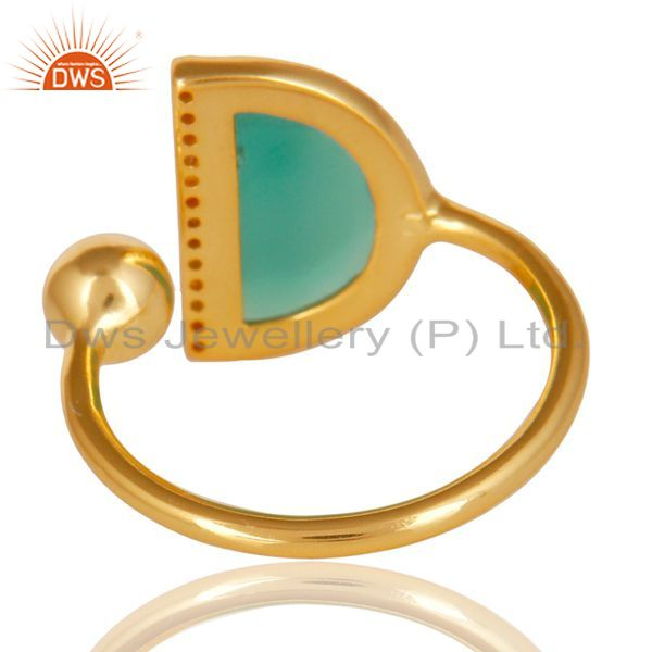 Suppliers Green Onyx Half Moon Ring Cz Studded 14K Gold Plated Sterling Silver Ring