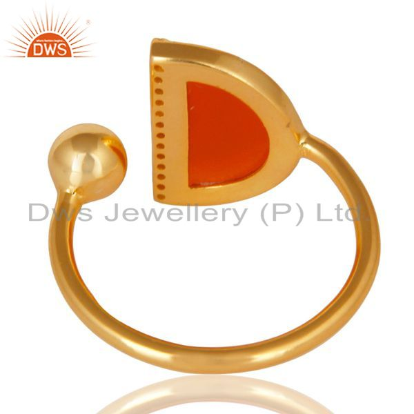 Suppliers Red Onyx Half Moon Ring Cz Studded 14K Gold Plated Sterling Silver Ring