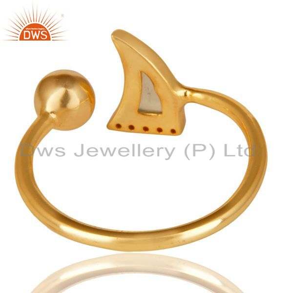 Suppliers Aqua Chalcedony Horn Ring Cz Studded Ball Ring Gold Plated Sterling Silver Ring