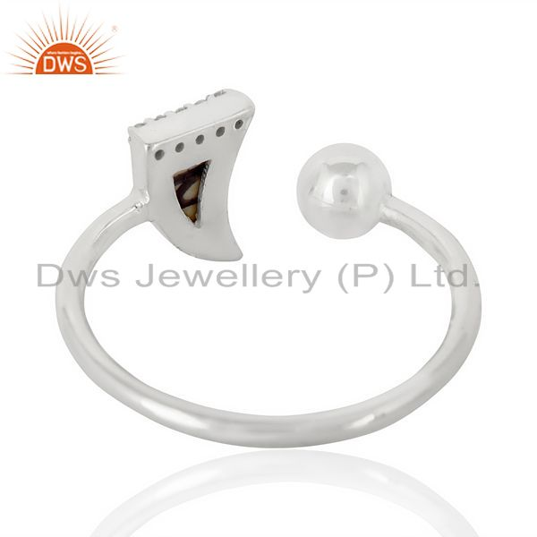 Suppliers Howlite Horn Ring Cz Studded Ball Openable Ring Sterling Silver Ring