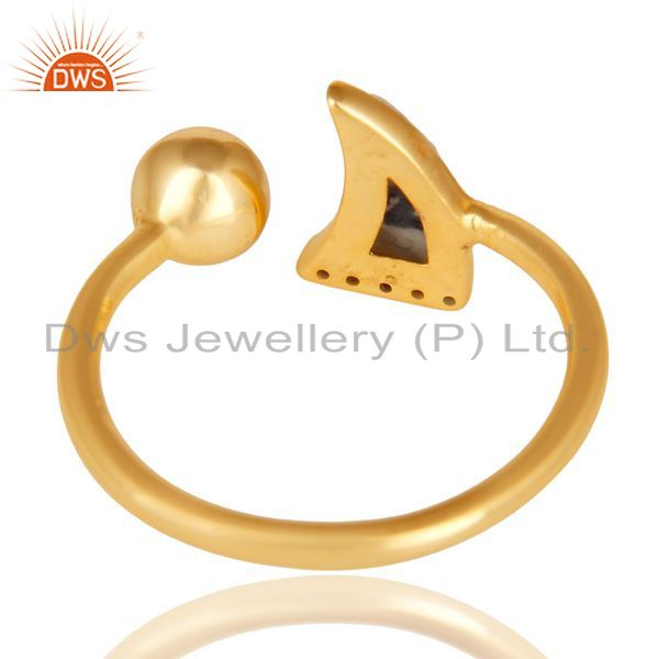 Suppliers Howlite Horn Ring Cz Studded Ball Ring Gold Plated Sterling Silver Ring