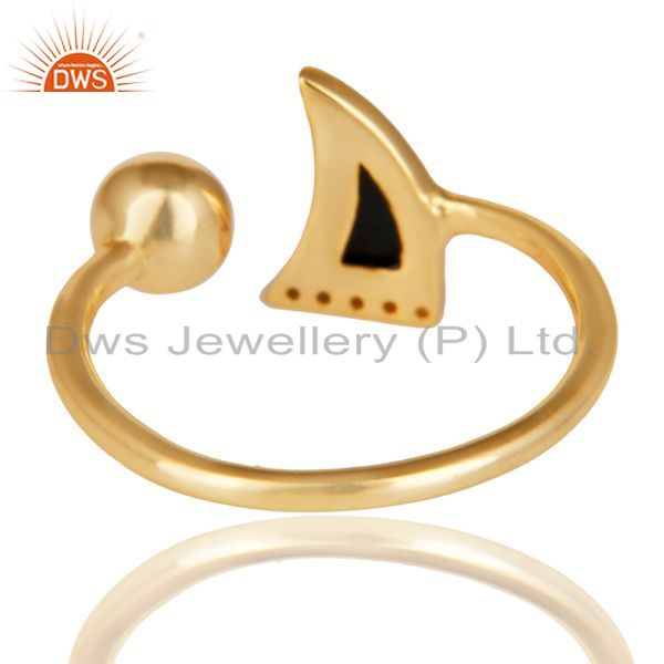 Suppliers Black Onyx Horn Ring Cz Studded Ball Ring Gold Plated Sterling Silver Ring