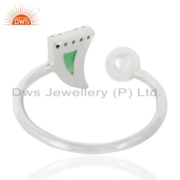 Suppliers Green Onyx Horn Ring Cz Studded Ball Openable Ring Sterling Silver Ring