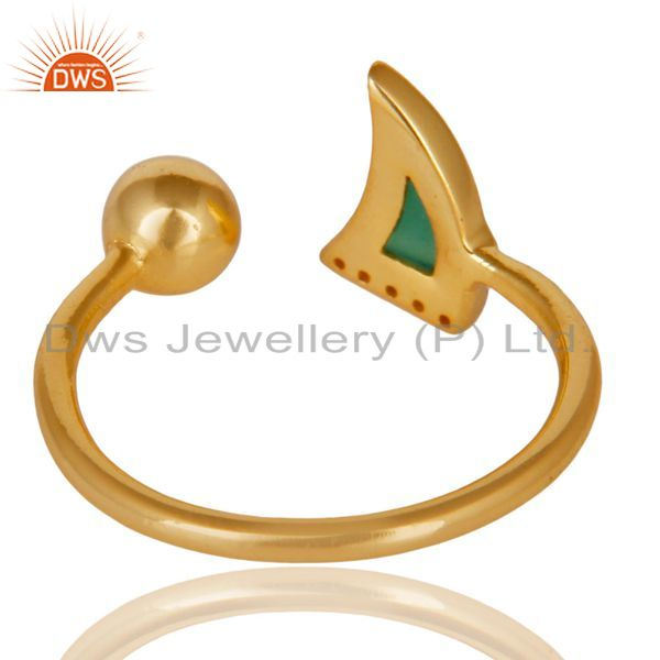 Suppliers Green Onyx Horn Ring Cz Studded Ball Ring Gold Plated Sterling Silver Ring