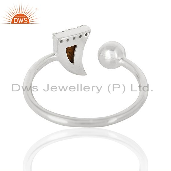 Suppliers Tigereye Horn Ring Cz Studded Ball Openable Ring Sterling Silver Ring