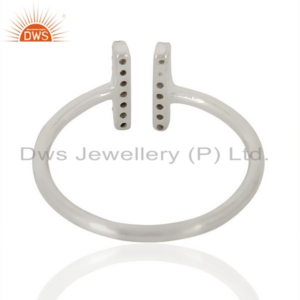 Suppliers Cz Studded Parallel Ring Openable Parallel Ring 92.5 Silver Wholesale Ring