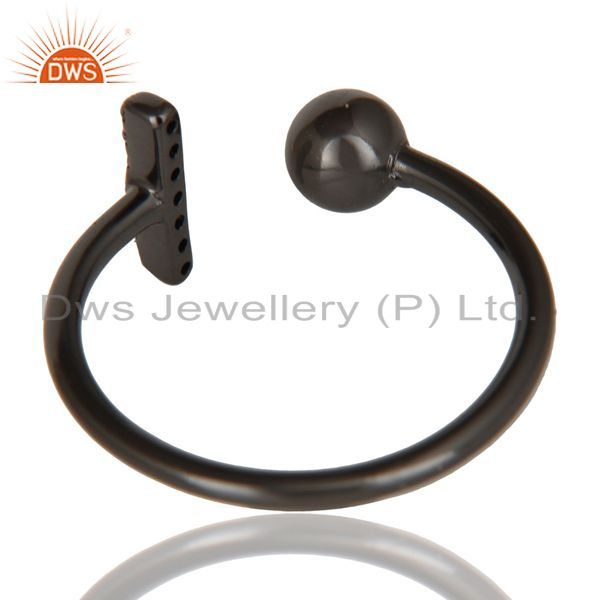 Suppliers CZ Gemstone Stackable Black Oxidized 925 Sterling Silver Ring Jewelry