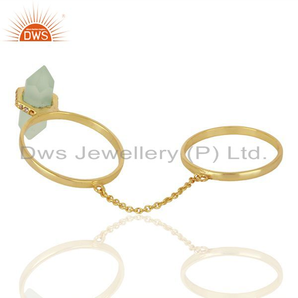 Top Selling Aqua Chalcedony And White Cz Studded Two Finger Ring Gold Plated Silver Jewelry