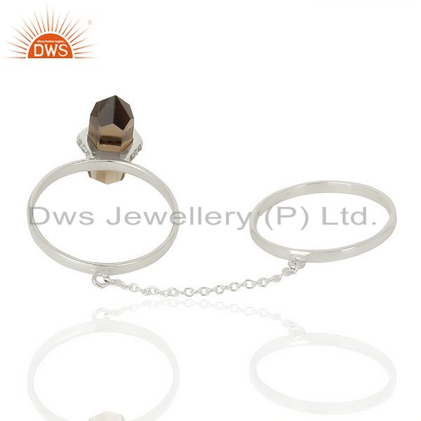 Best Selling Smoky Topaz And White Cz Studded Two Finger Ring 92.5 Sterling SilverJewelry