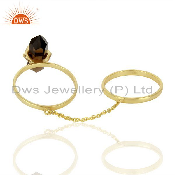 Suppliers Smoky Topaz And White Cz Studded Two Finger Ring Gold Plated Silver Jewelry
