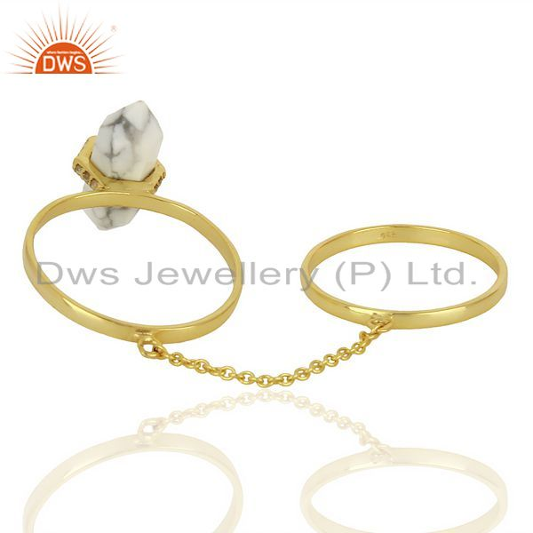 Suppliers Howlite And White Cz Studded Two Finger Ring Gold Plated Silver Jewelry